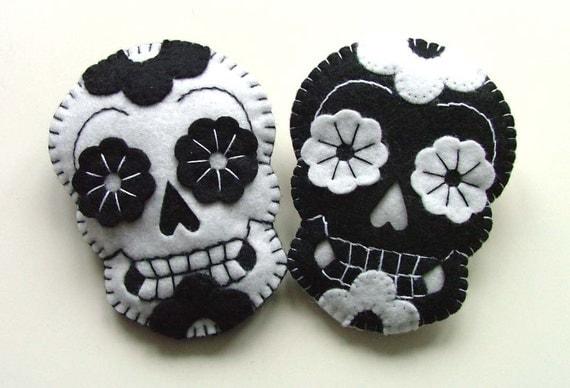 Felt Brooch Sugar Skulls