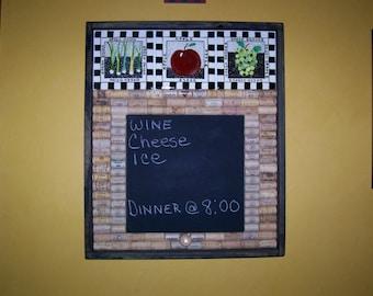 Chalkboard, Home Decor, Wall Hanging, Corkboard, Chalkboard, Wine Corks and Tiles