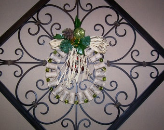 Wreath, Wine Corks, Green Glass Beads, Handmade