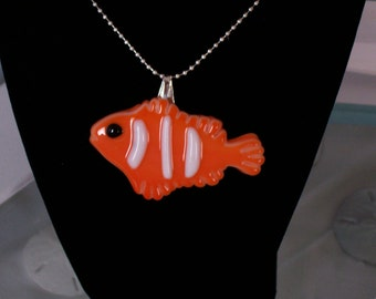 "Necklace, Clownfish, Fused Glass, 18""  Silver Ball Chain, Orange Fish, Pendant"