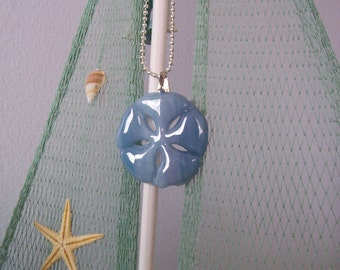 """Necklace, Sand dollar, Fused Glass, 18"""" Silver Ball Chain, Blue, Pendant"""