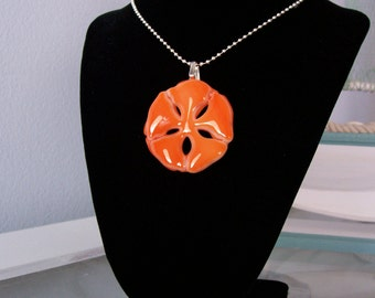 "Pendant, Necklace, Orange Sand Dollar, Fused Glass, 18"" Silver Ball Chain, Glass Sand Dollar"