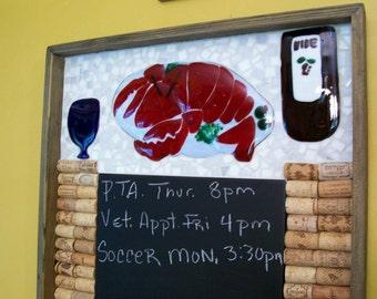 Chalk Board, Mosiac, Lobster, Cork Board, Black Board, Mosaic Art, Wine Corks, Fused Glass, Stained Glass, Kitchen Decor
