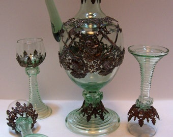 Barware, Decanter, Barware, Roemer, Wine Glasses, Decanter, Antique Decanter, Theresienthal Roemer, Karaffe, Rummer, Romer