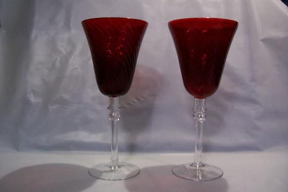 Cranberry Glass, Wine Glasses, Wine Goblets, Stemware