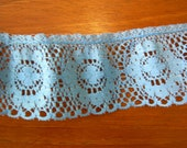 Slate Blue Ruffled Circles Lace 1-1/3 yds