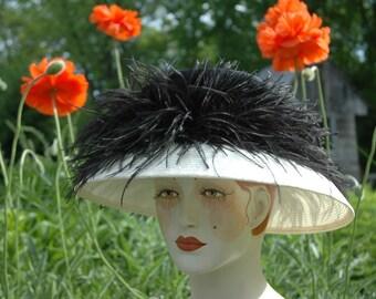 Elegant Black and White Kentucky Derby Straw Hat