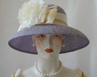 Ladies Straw Hat, Lavender Hat