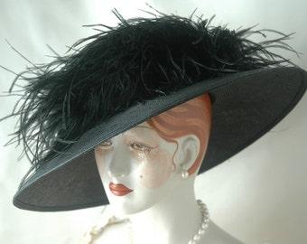 Ladies Edwardian Straw Hat, Downton Abbey, Elegant Black Kentucky Derby Hat