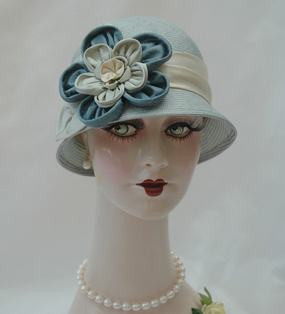 Ladies Straw 1920s Hat, Blue/Green Cloche, Handmade Flapper Hat