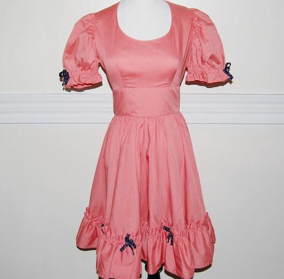 Vintage 1960s Square Dance Dress / Salmon Coral / 60s 70s