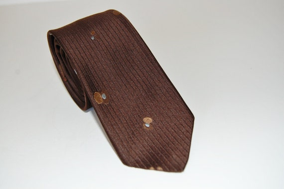 Vintage 1960s Skinny Tie // Neiman Marcus // Brown Baby Blue // 60s // Free Shipping