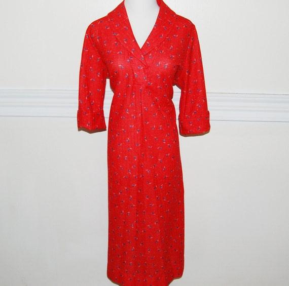 Vintage 1970s Nautical Dress / Sailboats / Red White Blue / 70s 60s / XL XXL