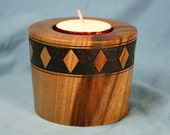 Black Walnut Tea Light Candle Holder with Wood Burned Band of Diamonds