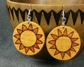 Sunny Yellowheart Wood Pendant Earrings with Woodburned Sunflowers