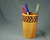 Apple Wood Pencil Cup Woodburned by Hand with Herringbone Band