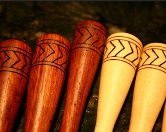 Single Wooden Maple or Granadillo Wood Hair Stick, Shawl Pin