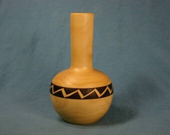 Caramel Colored Laurel Wood Bud Vase with Woodburned Zigzag Band