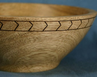 Myrtle Wood Bowl, Natural Silver Color, with Wood Burned Herringbone Band