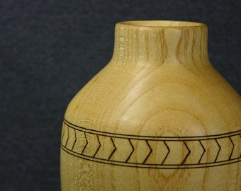 Large Ash Wood Vase with Woodburned Band of Chevrons