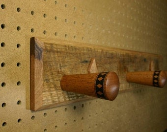 Rustic Salvaged Oak and Mahogany Wood Coat Rack with Three Pegs Woodburned with Bands of Diamonds