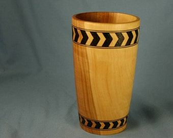 Apple Wood Pencil Cup or Vase with Two Woodburned Bands of Chevrons