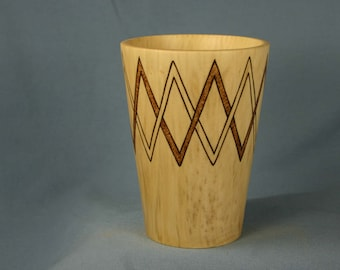 Wood Pencil Cup Made from Sweet Gum with Two Interlacing Woodburned Zigzags