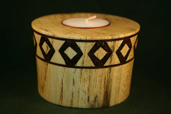 Wooden Tea Light Candle Holder Spalted Ash with Wood Burned Double Diamonds