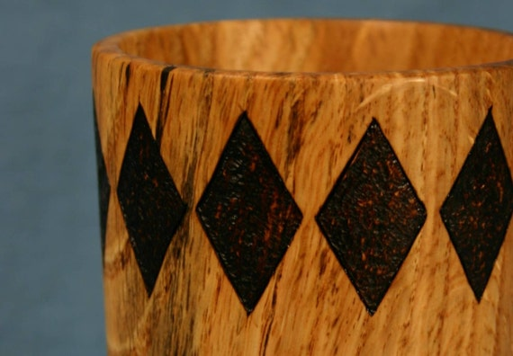 Wooden Pencil Holder Cup Tan Oak Wood with Burned Diamonds