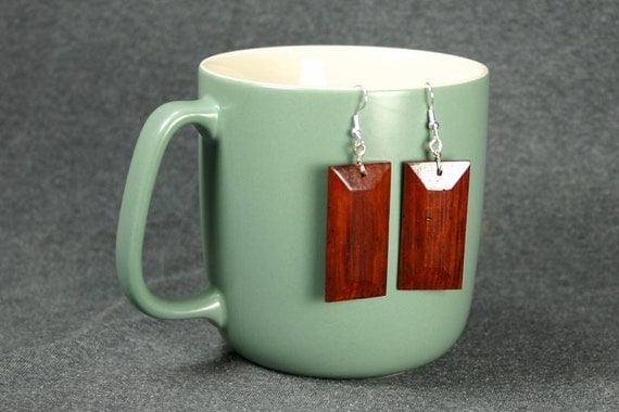 Wooden Pendant Earrings - Granadillo Wood