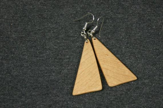Wooden Pendant Earrings - Hard Maple