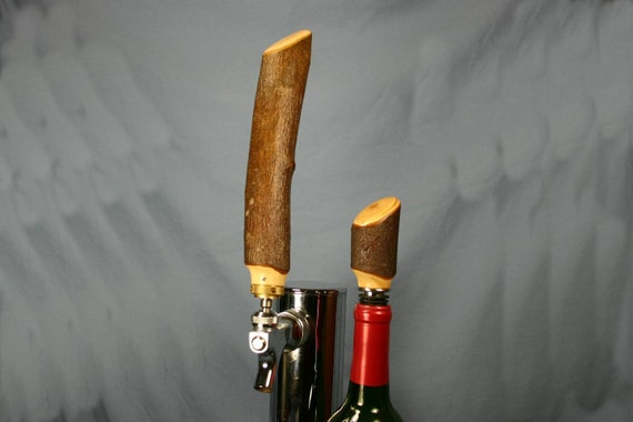 Rustic Beer Tap Handle and Wine Bottle Stopper Set Hawthorne Wood Branch