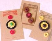 FUN Bakelite Casein Stacked Vintage Plastics Sewing Button Collection Cards Set 4