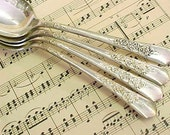 Ornate Fancy Vintage Tablespoons Spoon Silver Plate Flatware Dinnerware  Estate Lot 4 each