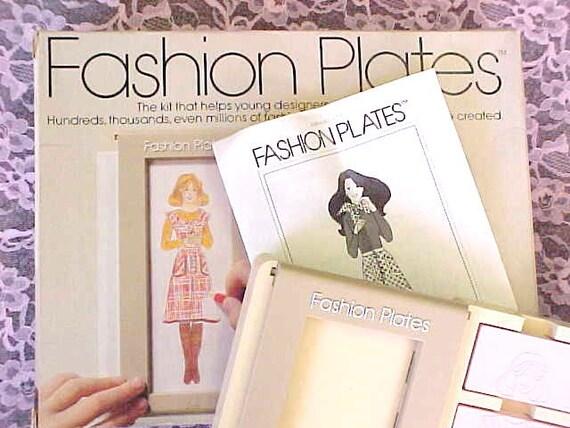 Vintage 1978 Tomy Fashion Plates Model Clothing Designer Toy Craft Kit Set