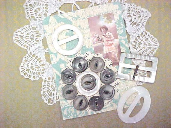 SALE - Victorian Whimsies Pearl Shell Sewing Fashion Buttons Embellishments Lot