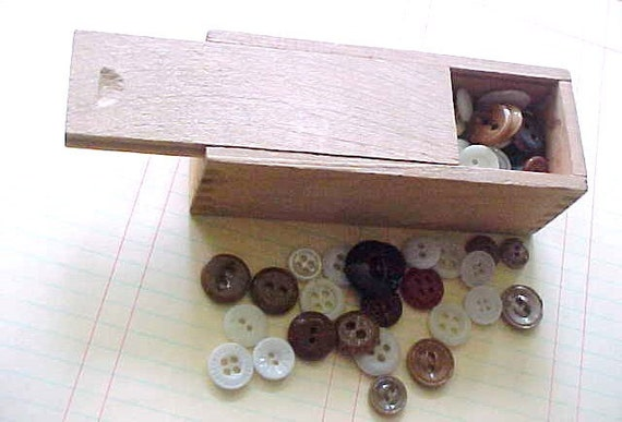Sew Special Antique China Sewing Buttons Glass Embellishments Destash Storage Antique Wood Slide Box