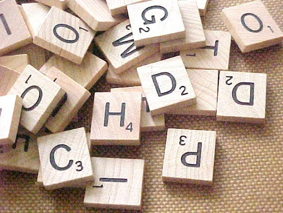 Big batch vintage scrabble game wood tile letter by for Large letter scrabble game