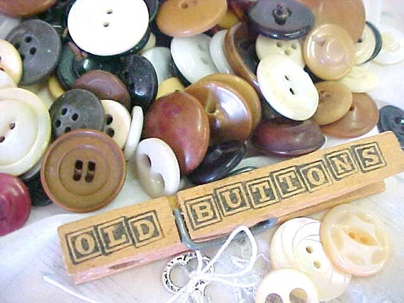 Primitive Antique China Bone Ivory Sewing Buttons Embellishments Destash Estate Lot