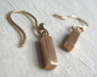 Solid 14k Rose Gold Bar Earrings