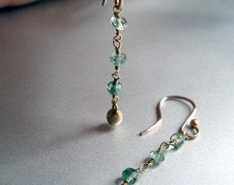 Green Tourmaline Solid 14k Rose Gold Dangle Earrings