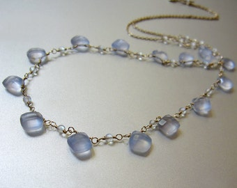 Blue Chalcedony and Rainbow Moonstone Solid 14k Gold Necklace