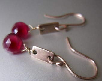 Ruby Earrings Ruby and Solid 14k Rose Gold Rectangles