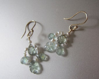 Moss Aquamarine and Keshi Pearl Floral Solid 14k Gold Earrings