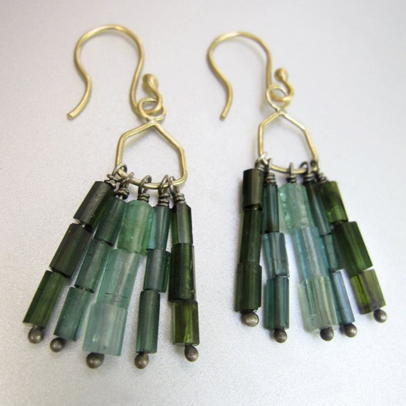 Green Tourmaline Fringes fine silver and Solid 14k Gold Earrings