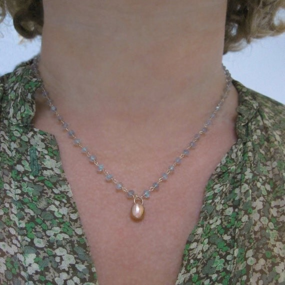 Moss Aquamarine Necklace with Large Solid 14k Rose Gold Drop