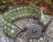 Saguaro Jasper and Leather Cuff Bracelet