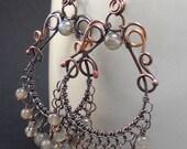 Handmade Copper and Gemstone Chandelier Earrings