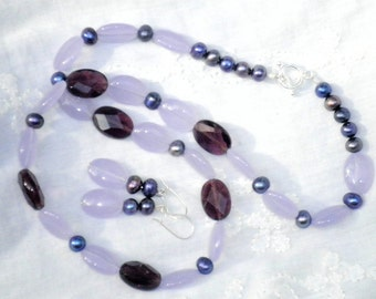 Shades of Purple Quartz and Pearl Necklace and Earring Set