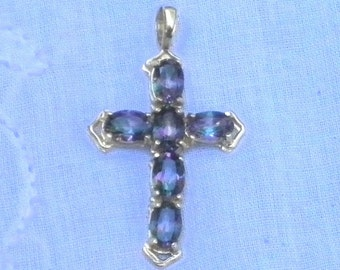 14kt SOLID GOLD, Mystic, Natural Topez, Genuine Gemstone Cross, Gorgeous